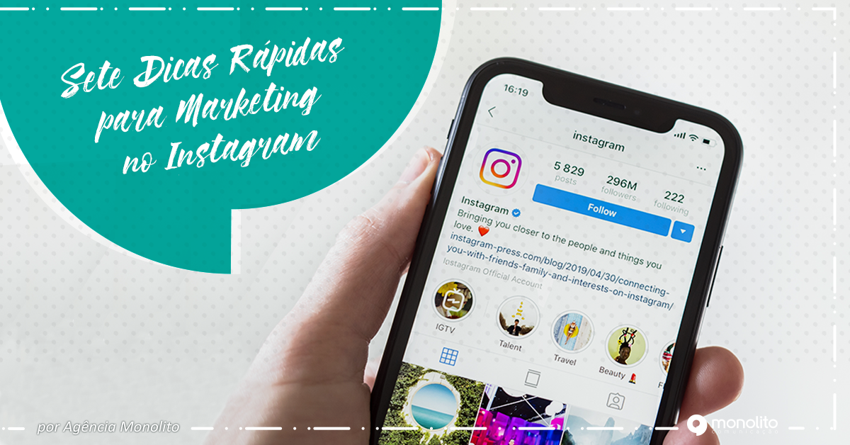 Sete dicas rápidas para marketing no Instagram